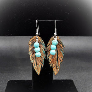Natural Leather Feather Earring With Color and Bead Accent