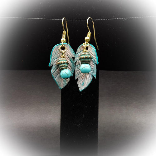 Small Leather Feather Earring With Bead Accent