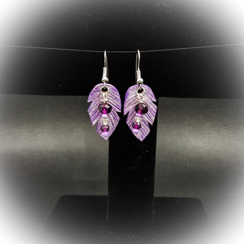 Small Leather Feather Earring With Purple Bead Accent