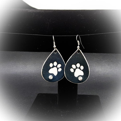 Leather Tear Drop Earring With Paw Print and Swarovski Crystal