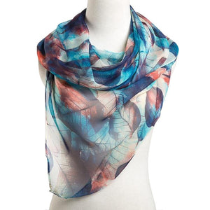 Leaf Pattern Scarf Blue