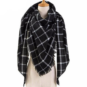 Only 1 Left!! - Plaid Blanket Shawl Black