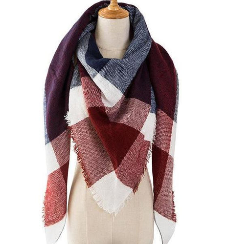 Only 1 Left!! - Plaid Blanket Shawl Red