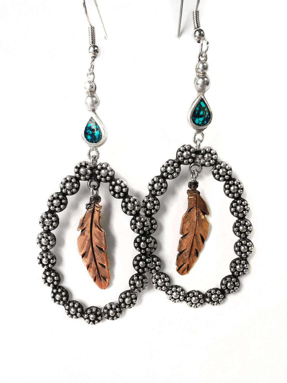 Silver Berry Bead Hoop and Copper Feather Earrings