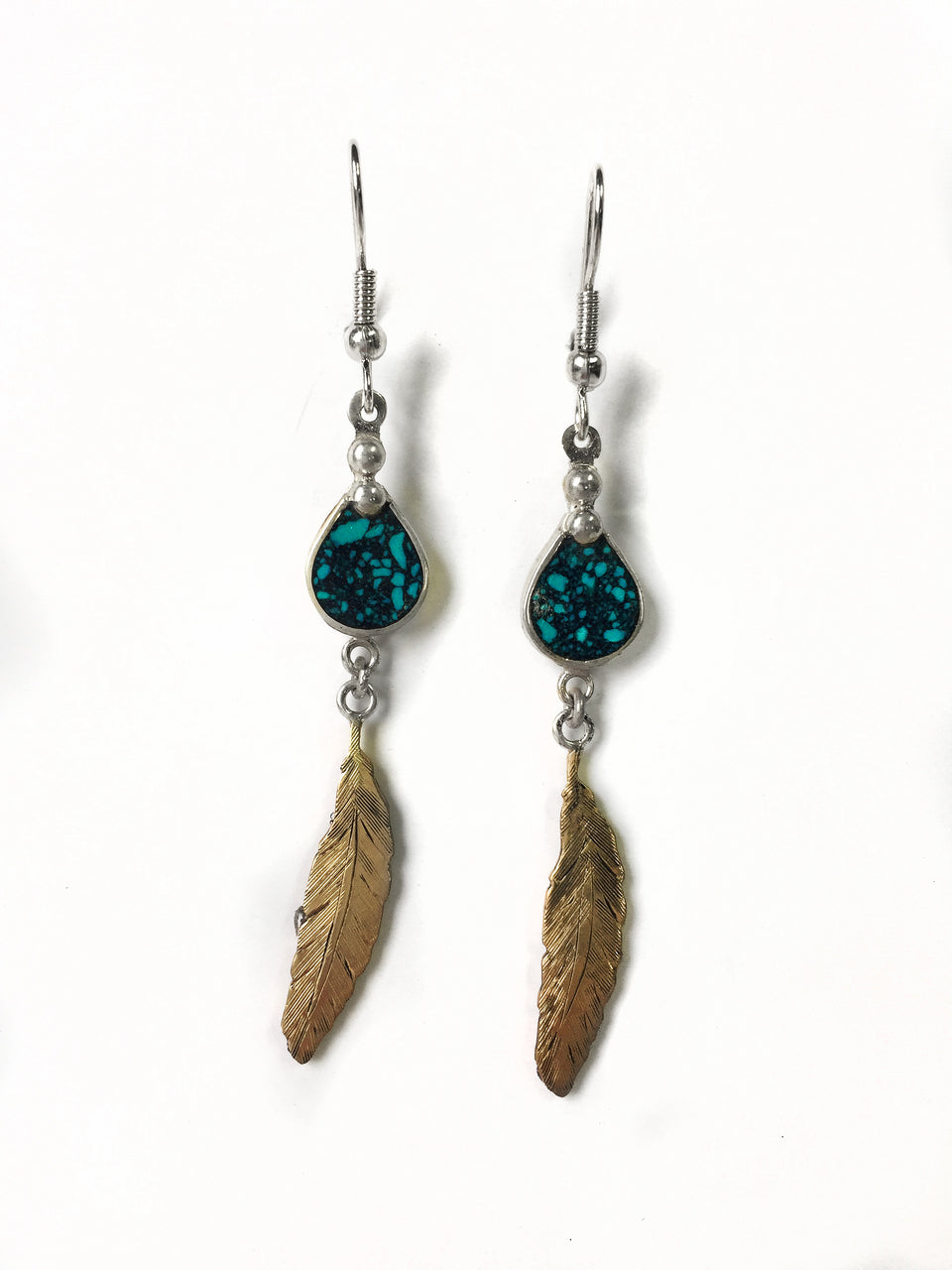 Feather and Turquoise Resin Earrings