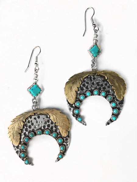 Feather Silver Squash Blossom Earrings
