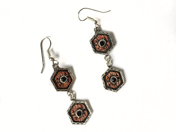 Hexagon Silver Earrings