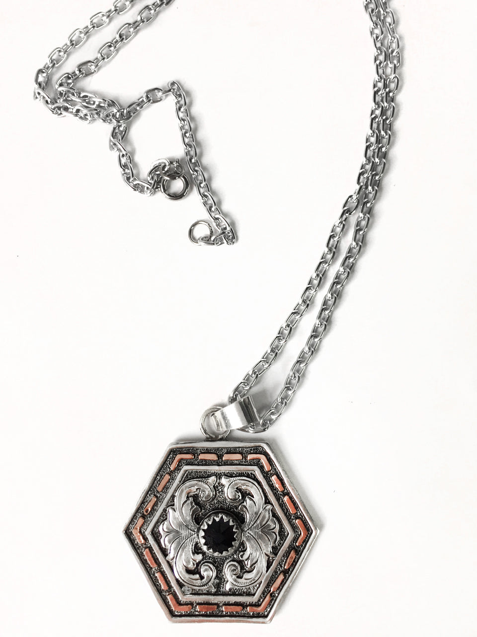Hexagon Western Copper Buckstitch Pendant