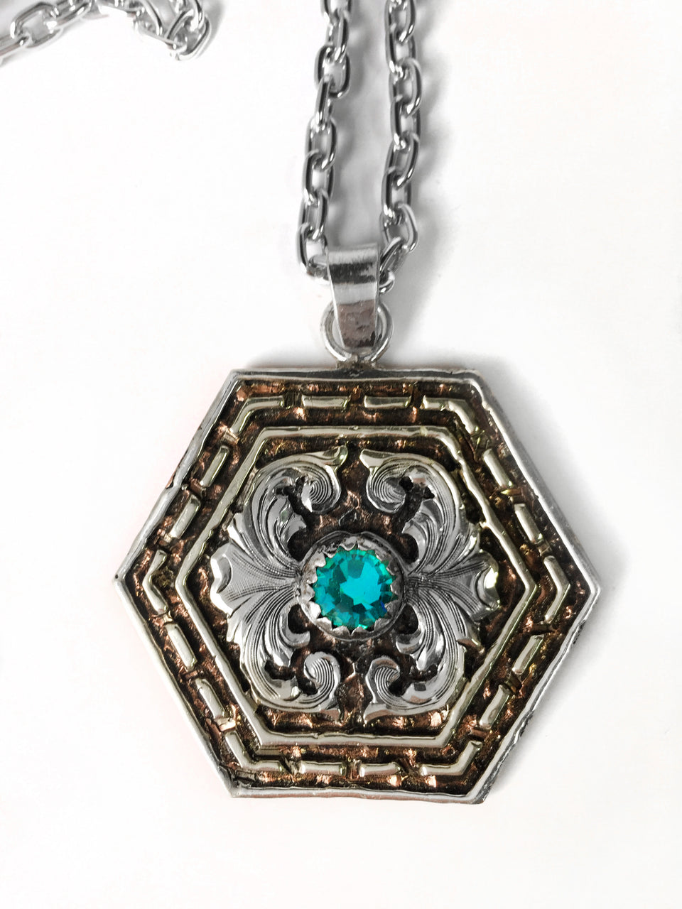 Hexagon Western Silver Buckstitch Pendant