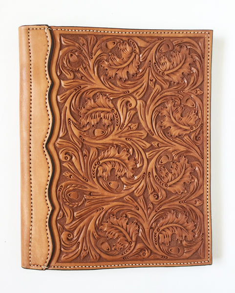 Acorn Oak Tooled Authentic Leather Notebook Cover