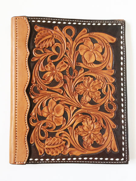 Black Wyoming Floral Tooled Authentic Leather Notebook Cover