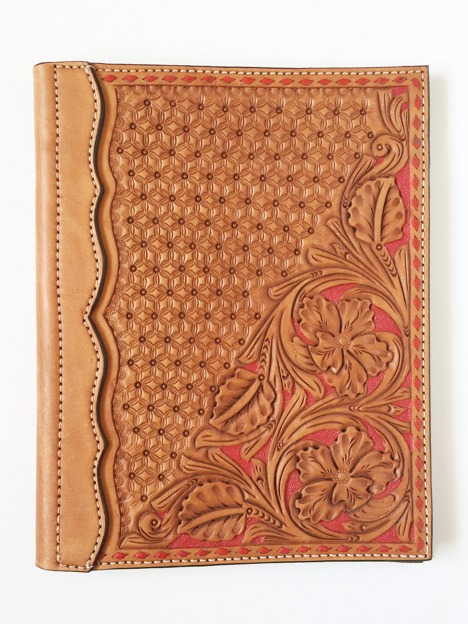 Half Tooled Red Wyoming Floral Authentic Leather Notebook Cover