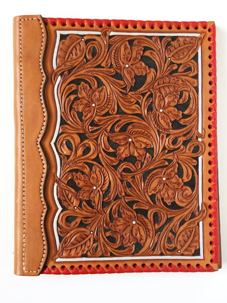Red Whip Stitched Wyoming Floral Tooled Authentic Leather Notebook Cover