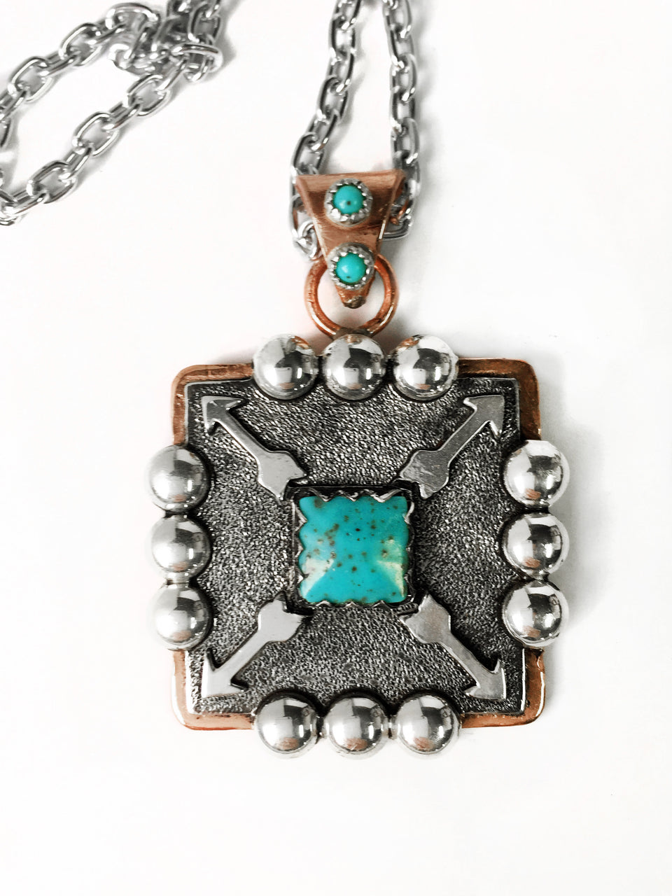 Square Copper and Turquoise Arrow Pendant