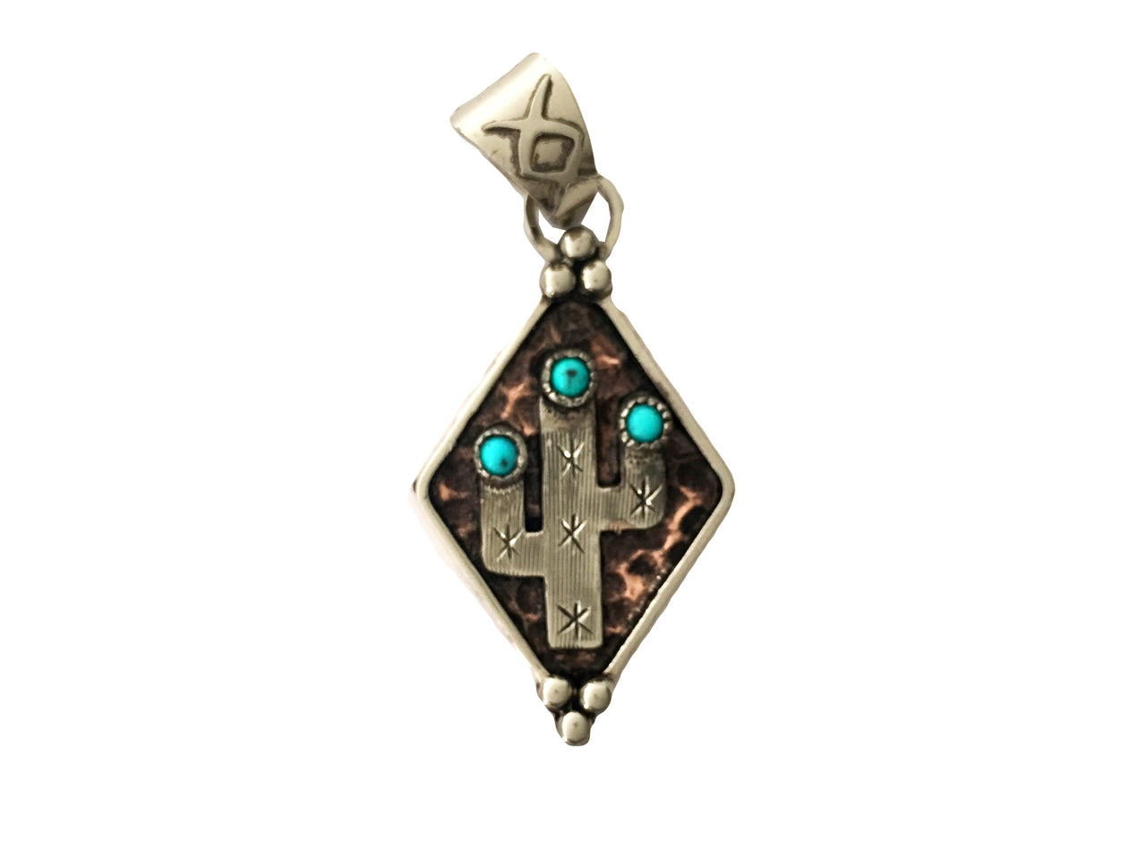 Hammered Copper Diamond Shaped Cactus Pendant