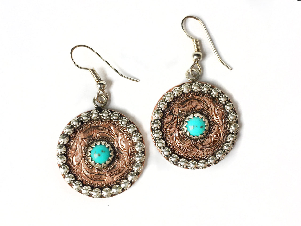 Round Copper and Turquoise Earrings