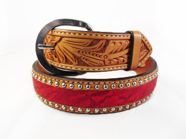 Silver Studded  Natural Leather Red Elephant Belt