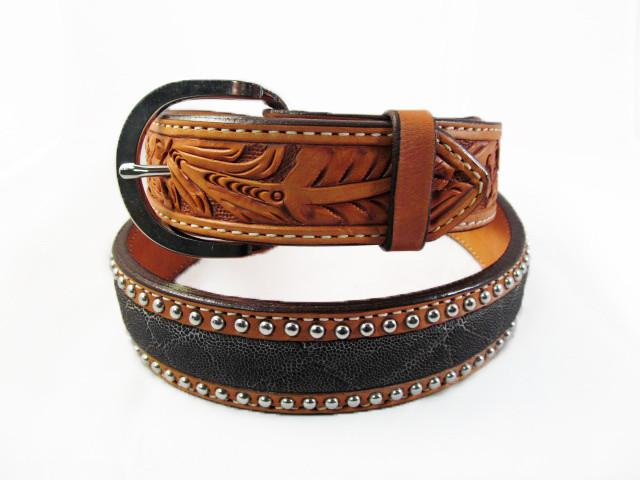 Silver Studded Natural Leather Elephant Belt