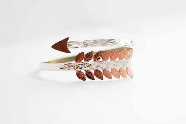 UBSB-005 Sterling Silver and Rose Gold Arrow Bracelet
