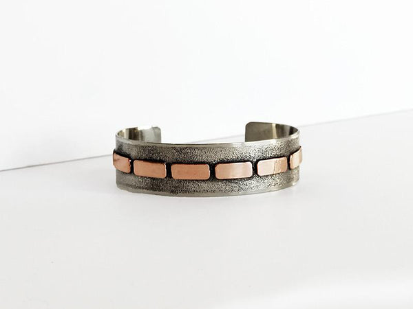 UBSB-002 Sterling Silver and Rose Gold Cuff Bracelet