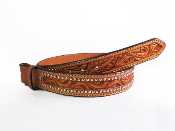 Silver Studded Natural Leather Floral Tooled Belt