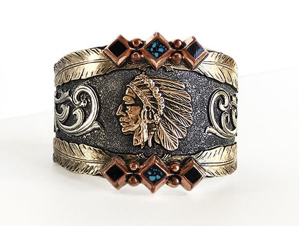 UBSB-009 Signature Indian Head Cuff Bracelet