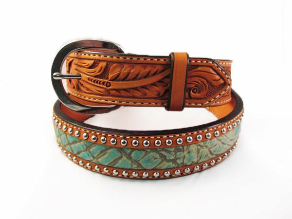 Silver Studded Natural Leather Turquoise Alligator Belt