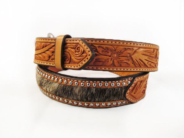 Silver Studded Natural Leather Hide Belt