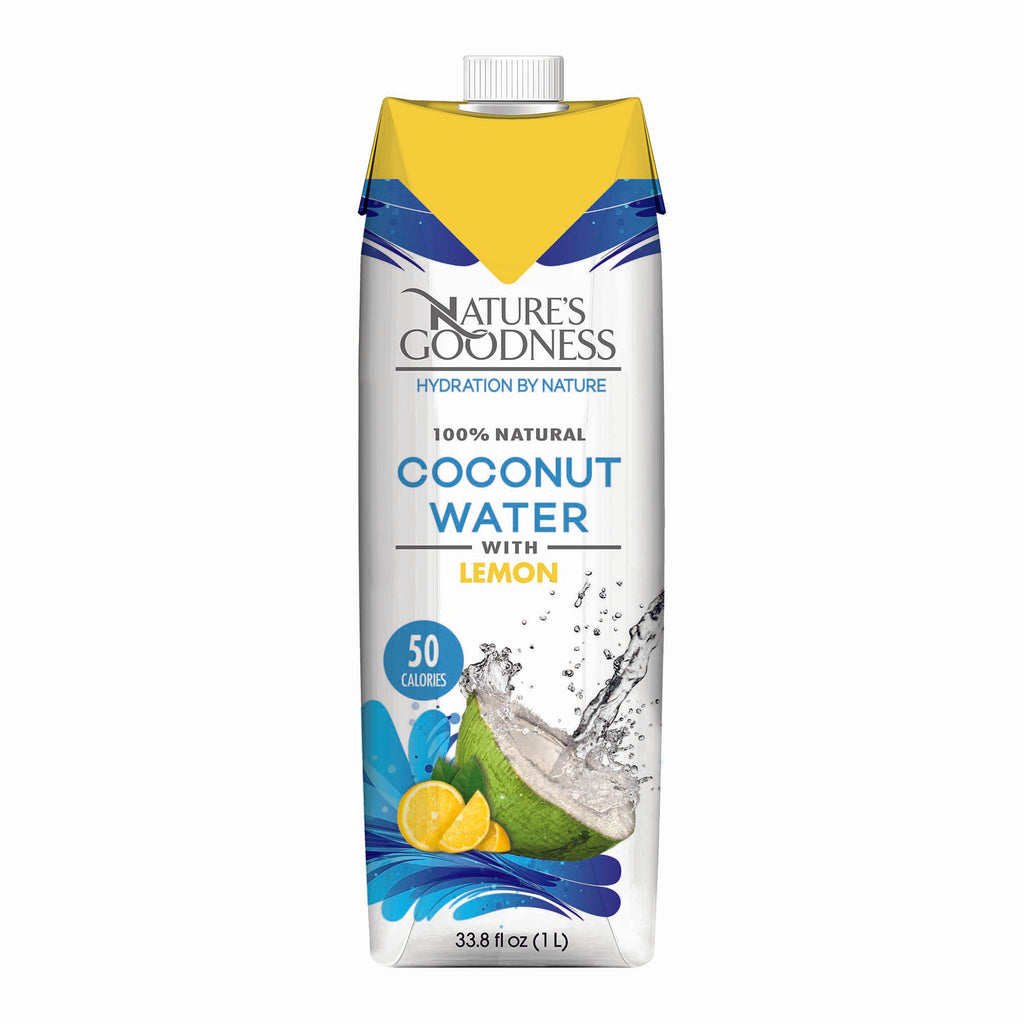 100% PURE COCONUT WATER - LEMON FLAVOR – 33.8 FL OZ