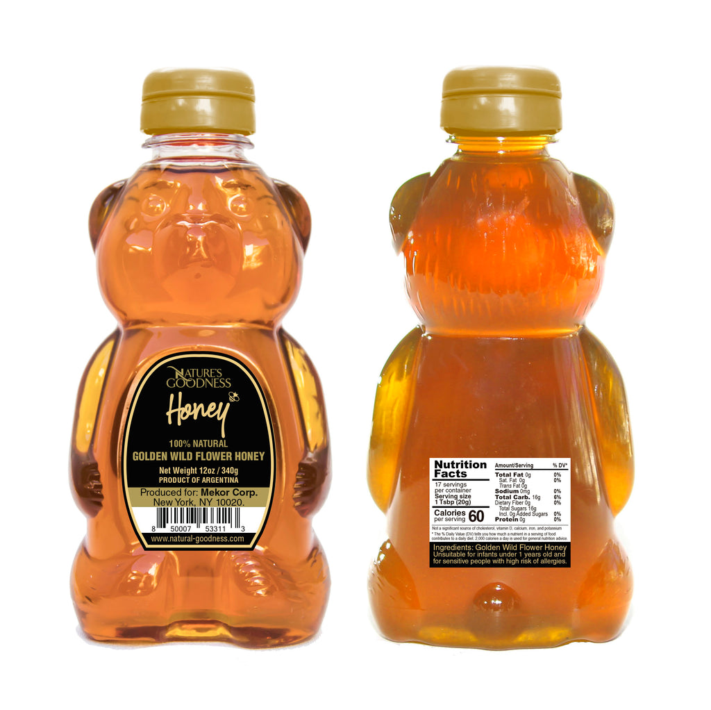 GOLDEN WILDFLOWER HONEY BEAR – 12 oz.