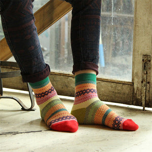 Man Colorful Stripe Multi-Color Cotton Socks