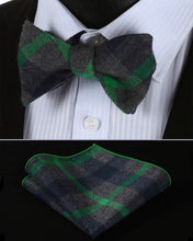 Green Gray Cotton SelfBowTie Pocket Square Set