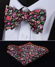 Black Pink Red Floral CottonSelf BowTie Pocket Square Set