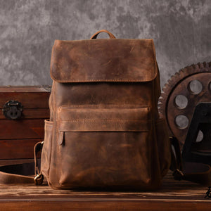 Men Genuine Leather Backpack