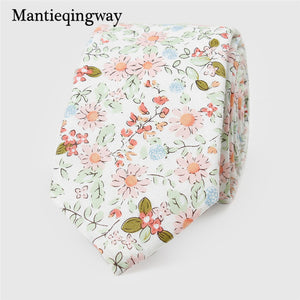 Mantieqingway 2017 New Arrival Ties for Men 6cm Cotton Printed Tie Skinny Necktie Fashion Casual Blue Floral Tie for Men Wedding