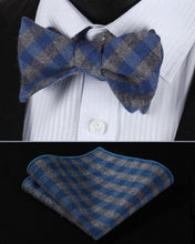 Blue Gray Cotton SelfBowTie Pocket SquareSet