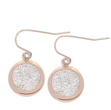 Rose Button with zircons Earrings