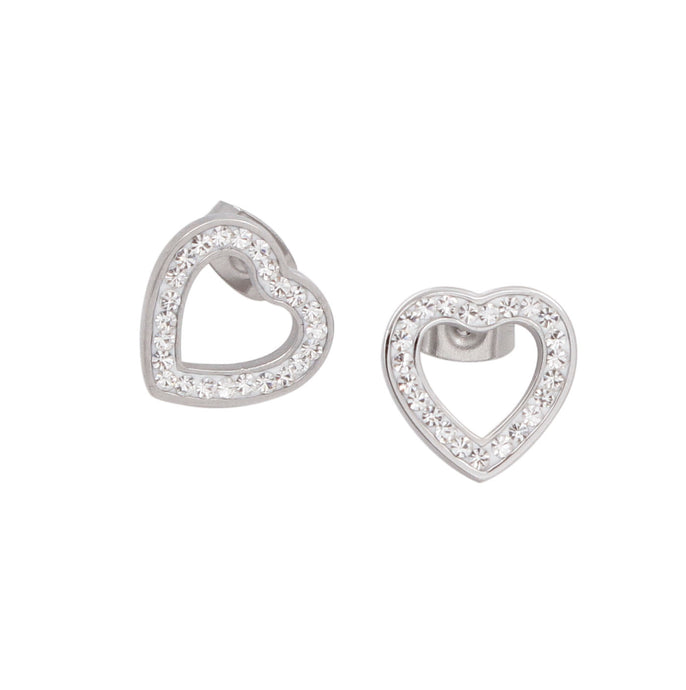 White Gold Hearts with zircons Earrings
