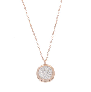 Rose Button with zircons Necklace