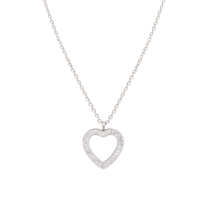 White Gold Heart with zircons Necklace