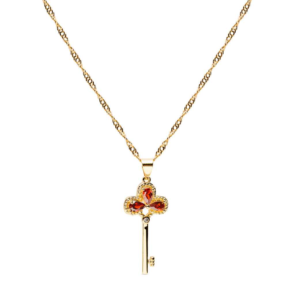chain bling key clover four vermeil with gold leaf jewelry necklace pendant