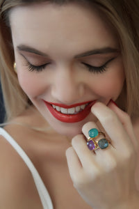 Emerald Natural Stone Ring (Love)