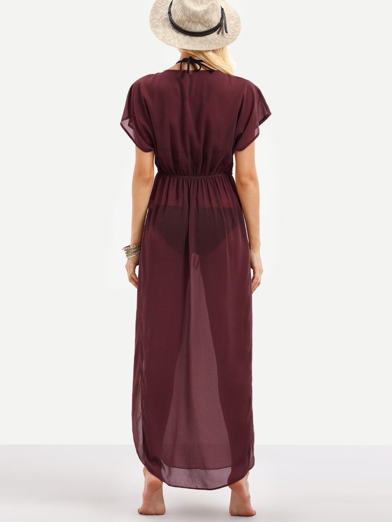 Plunging Tie Waist Cover Up Dress - Bomberish