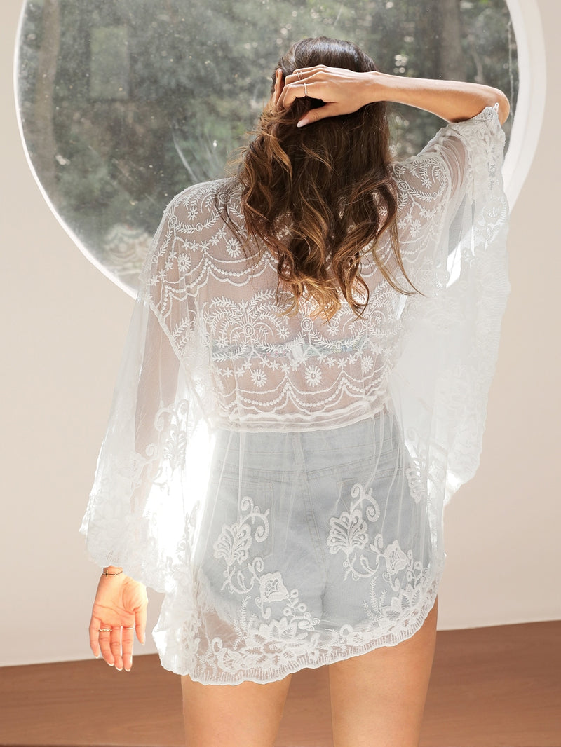 Embroidery Mesh Knot Front Cover Up - Bomberish