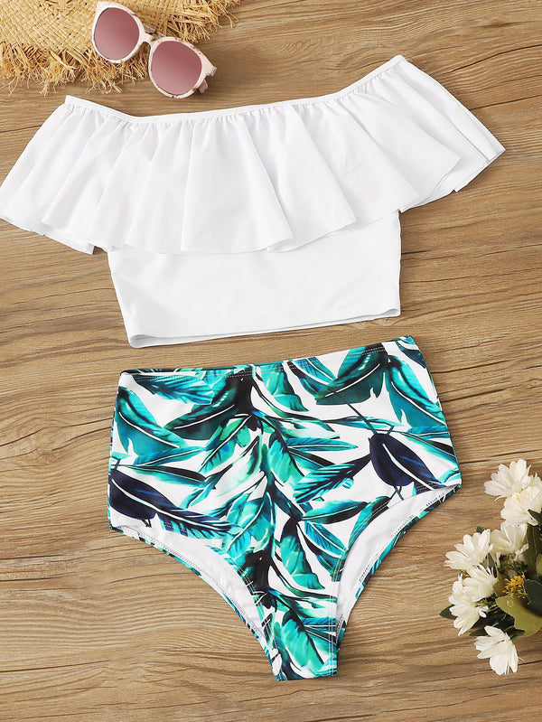 Flounce Bardot Top With Random Leaf Print Tankini - Bomberish