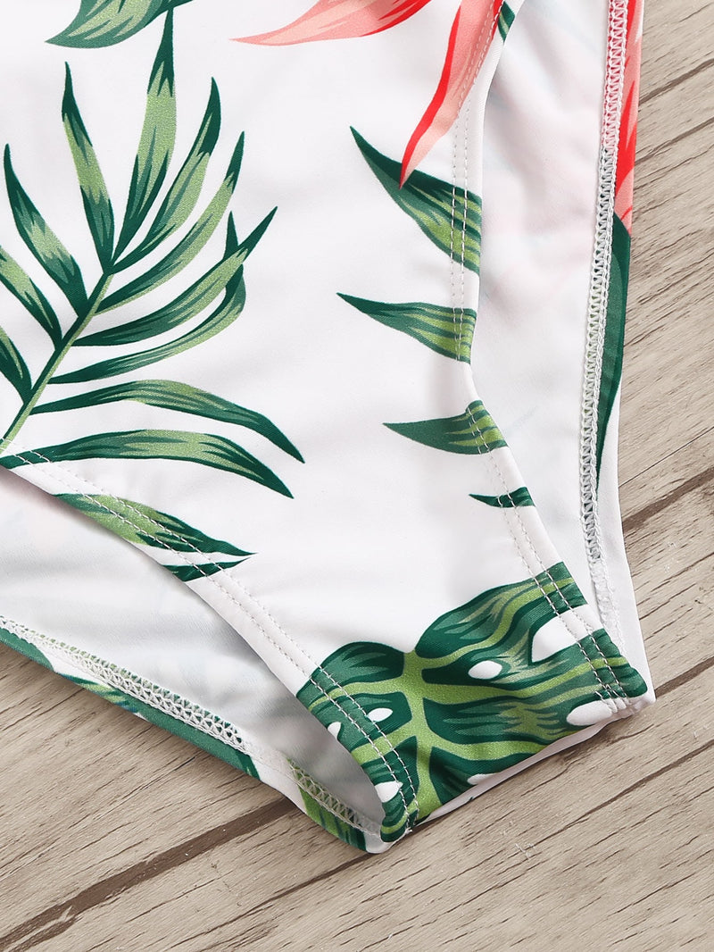 Tropical Print Lace-up Back One Piece Swimsuit - Bomberish