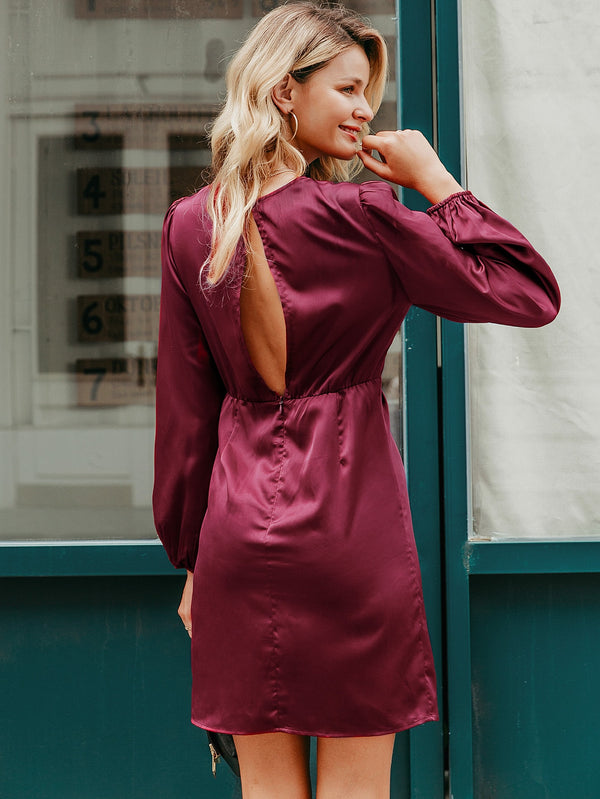 Simplee Solid Twist Front Wrap Satin Dress - Bomberish