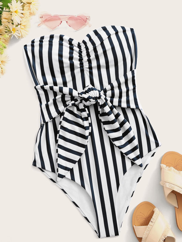 Striped Knot Front Bandeau One Piece Swimwear - Bomberish
