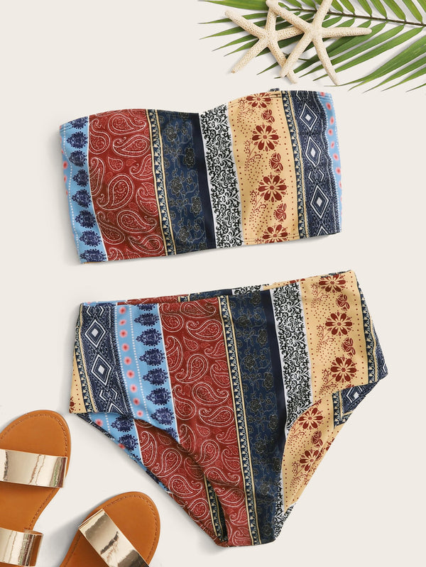 Tribal Bandeau With High Waist Bikini Set - Bomberish