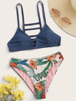 Ladder Cut-out Top With Floral Random Print Panty Bikini - Bomberish